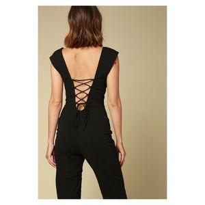 Black Cap Sleeve Lace Up Back Solid Jumpsuit